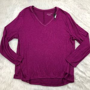 Ava & Viv Violet Knit Top with Beaded Neck